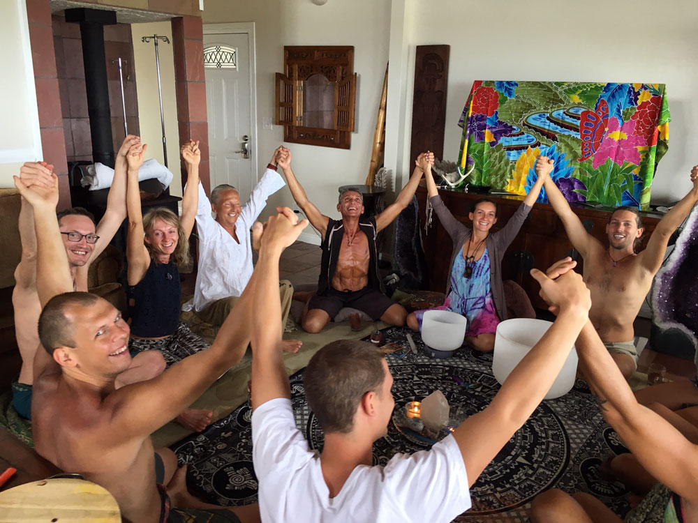Group Meditation At The Terrain Modification Retreat In Hawaii